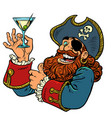 pirate funny character alcoholic cocktail vector image vector image