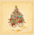 retro christmas card vintage paper background vector image vector image