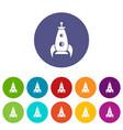 rocket futuristic icons set color vector image vector image