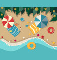sandy beach with leisure items view from above vector image