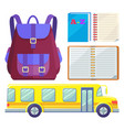 school bus and rucksack child abc textbook vector image vector image