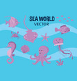 sea world set flat cute vector image vector image