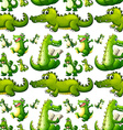 Seamless crocodile doing activities vector image