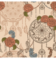 seamless pattern with dream catcher roses vector image vector image