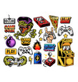 set collection retro vintage video game vector image vector image