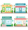 set facade pharmacy stores with a signboard vector image vector image
