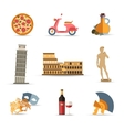Set of Italy isolated travel colorful flat icons vector image vector image