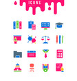 set simple icons university vector image