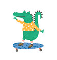 skating little crocodile flat vector image