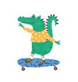 skating little crocodile flat vector image