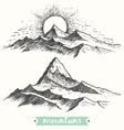 Sketch sunrise mountains engraving drawn vector image vector image