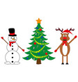 snowman and deer at decorated christmas tree vector image