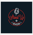 stand up logo round linear logo microphone vector image