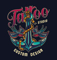 tattoo studio colorful print vector image vector image