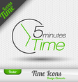 Time Icon 5 Minutes Symbol Design Elements vector image vector image