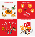 Touristic Turkey 4 Isometric Icons Square vector image