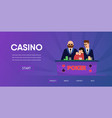 unlucky man lose money security near casino table vector image vector image
