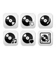Vinyl record dj buttons set