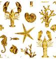 watercolor sea life pattern vector image vector image