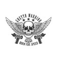 winged skull with guns design element for logo vector image vector image