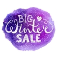 Winter big sale text lettering with heart on vector image