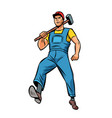 working with hammer employee specialist worker vector image vector image