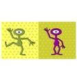 cartoon funny one eyed alien dancing vector image