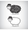 hand drawn doodle cartoon sheep vector image