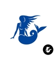 Mermaid silhouette logo Blue young female vector image
