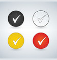 set of buttons with check marks or ticks vector image