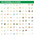 100 windmills icons set cartoon style vector image vector image