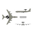 3d image of military aircraft top front and side vector image