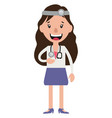 a woman doctor with stethoscope laughing on white vector image