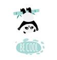 be cool - cute cartoon panda hanging upside down vector image