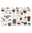 Big set of different coffee and drinks isolated