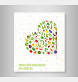 book heart vegetables fruits vegetables organic vector image