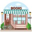 bookshop bookstore building facade a row books vector image