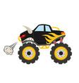 cartoon monster truck big muscle car 4x4 vector image
