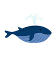 cartoon whale swimming vector image vector image