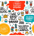 coffee bbright doodle seamless pattern hand drawn vector image vector image