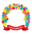 Colorful Balloons Arch With Red Ribbon vector image vector image