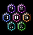 colorful plastic neon hexagon banners polygon logo vector image