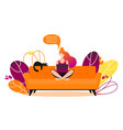 concept of couchsurfing character woman sitting vector image vector image