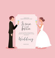 couple toasting wine glasses in wedding card vector image