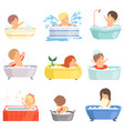 cute little kids bathing and playing in bathtub vector image