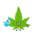cute smoling marijuana leaf with bong vector image