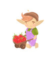 cute troll boy character with wooden cart full of vector image