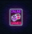 glowing neon sign of online casino application vector image vector image