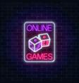 glowing neon sign of online casino application vector image vector image