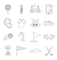 Golf items icons set outline style vector image vector image